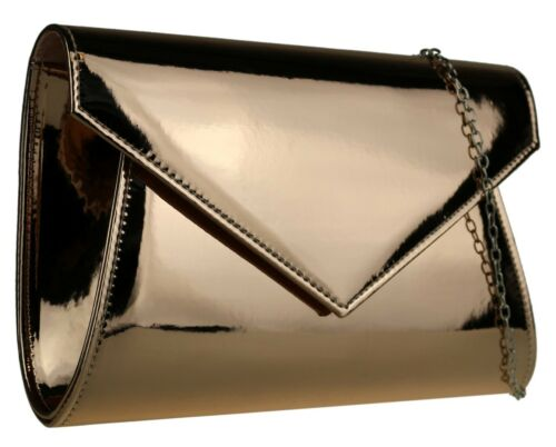 Classic Ladies Glossy Plain Faux Leather Clutch Bag Elegant Wedding Party Events