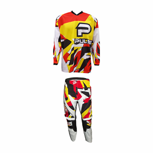 PULSE-STORM-YELLOW-amp-RED-MOTOCROSS-MX-ENDURO-QUAD-BMX-MTB-KIT-FREE-SOCKS