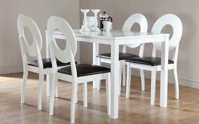 Milton & Flint White Dining Table & 4 6 Leather Chairs Set