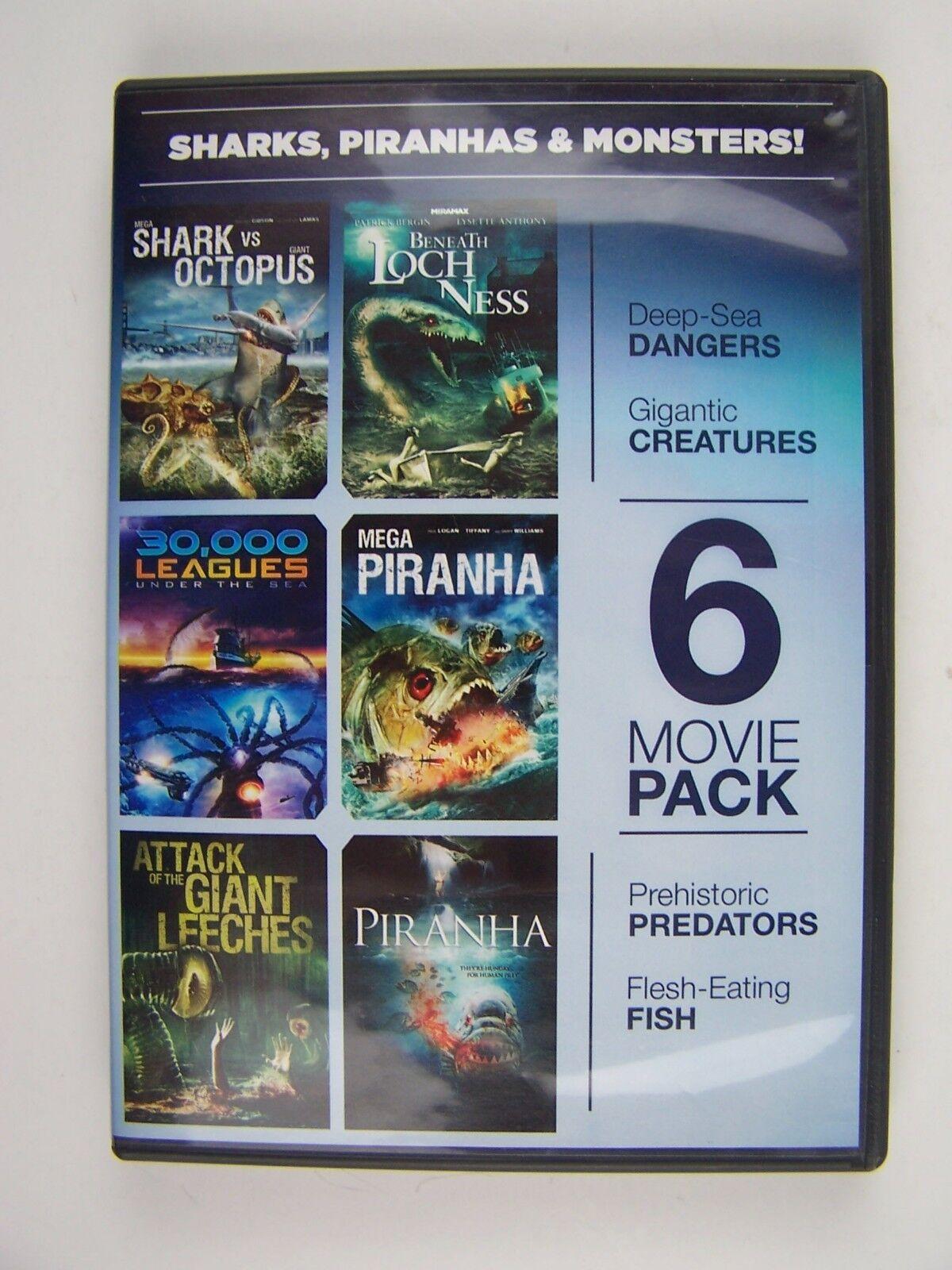 Sharks, Piranhas & Monsters DVD Movie 6-Pack Box Set 96