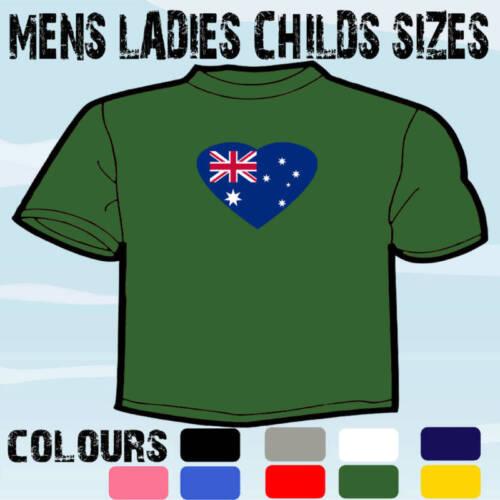 AUSTRALIA OZ HEART SHAPED I LOVE T-SHIRT ALL SIZES