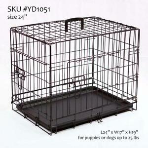 We Retail & Ship ... NEW Dog Crate, Double-Door Folding Metal Cage, w/ plastic pan & divider, 4 sizes Ontario Preview