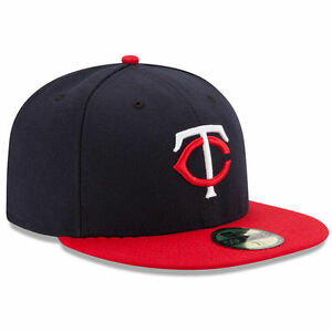 New Era 5950 MINNESOTA TWINS Road Blue Red Cap 5950 Fitted MLB ... 60172c985520