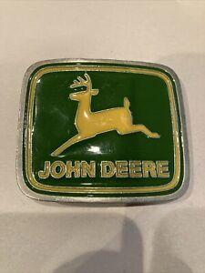 JOHN DEERE~Enamel Belt Buckle~Green~Yellow~Silver Tone~Made in USA~Paul Frank
