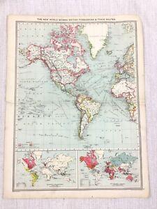 1909 Antik Map Of Die Britische Reich Kolonien Welt Handel Route George Philip