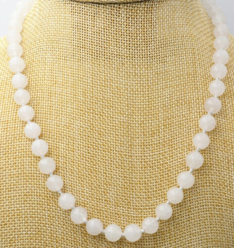 """Long 18/"""" 24/"""" 36/"""" 50/"""" 8mm //10mm White Jade Round gemstone  Necklace AAA"""