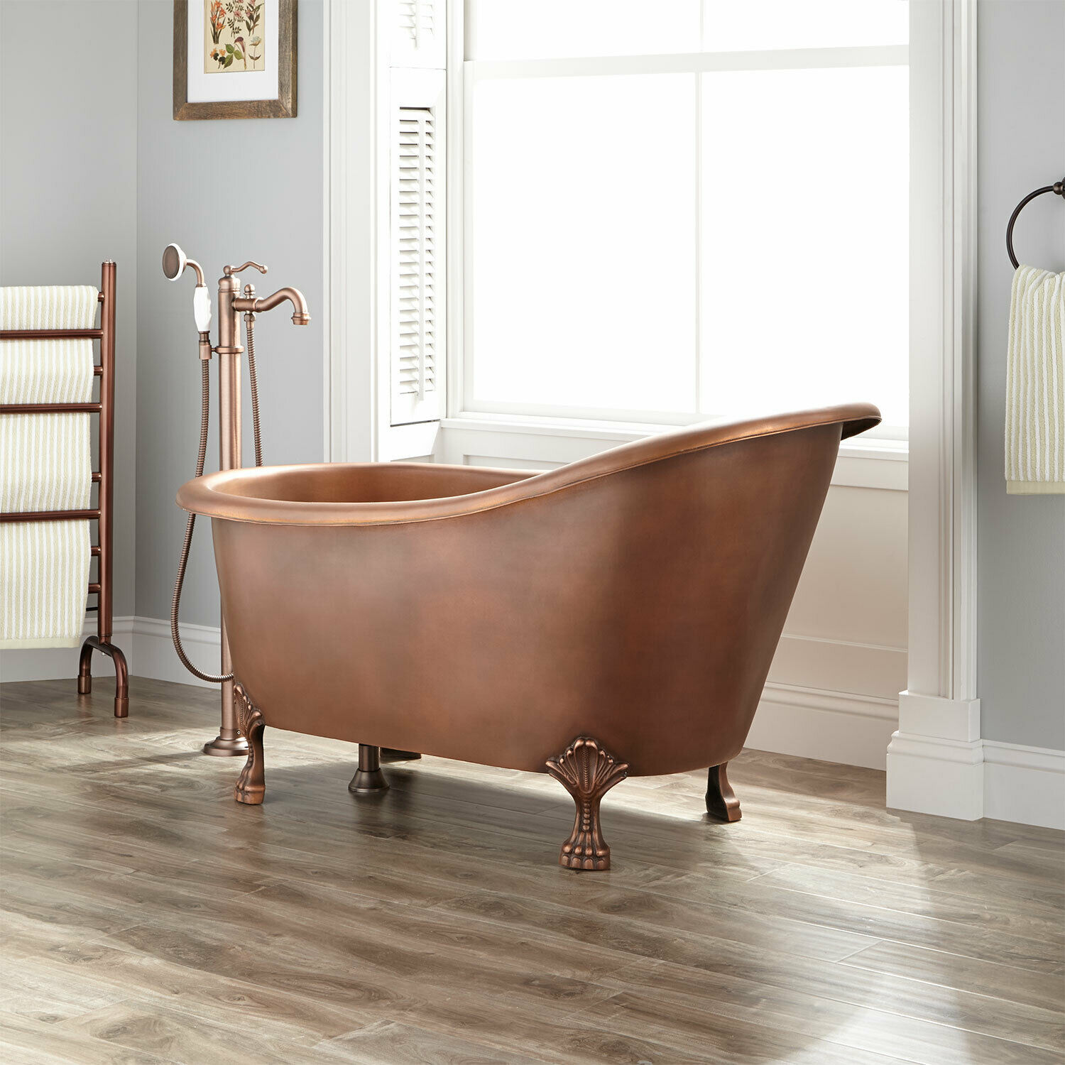 Signature Hardware 54 Norah Copper Slipper Clawfoot Tub Rolled