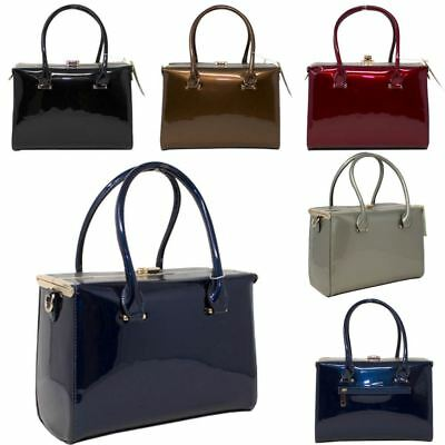 New Ladies Designer Handbags Women/'s Faux Leather Patent Stylish Satchel Bags