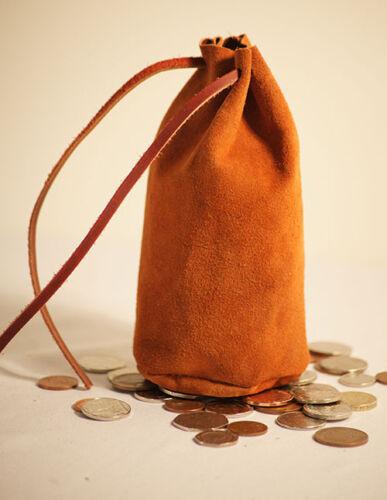 LARP-WAR GAMING-Reenactment Large LIGHT BROWN DOMINO DRAWSTRING Money Bag