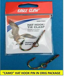 "e0aa8a5ab74ea NEW EAGLE CLAW ORIGINAL ""CAMO"" FISH HOOK HAT PIN MONEY CLIP IN ORIG ..."