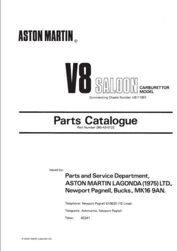 V811001 à V812031 parts manual Aston Martin V8 Saloon Carb Model châssis no