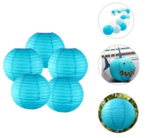 12pk-Blue-Turquoise-Paper-Lanterns-12-034-Baby-Shark-Birthday-Party-DIY-Decorations