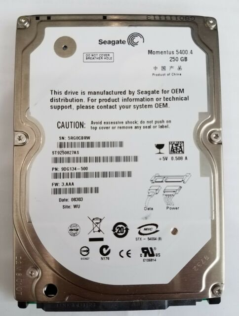 "Seagate Moments 5400 250GB 2.5"" inches SATA ST9250827AS"