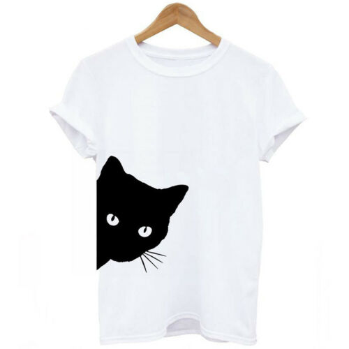 Damen Kurze Ärmel U-Ausschnitt Katze drucken Beiläufig Lose Tops Bluse T-Shirt