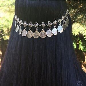 Gypsy-Coins-Tassel-Head-Chain-Headpiece-Headband-Bohemian-Jewelry-Silver