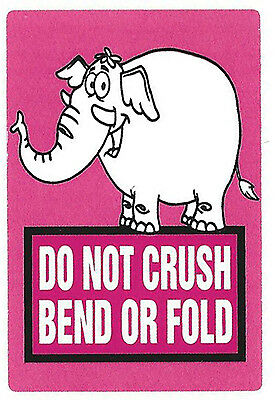 "Pink Elephant ""Do Not Crush Bend or Fold"" Stickers - 3"" by 2"" - 50 ct - SL064C"