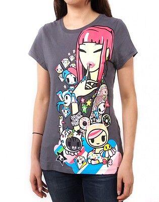 NEW Tokidoki Highlighter Characters Women Junior Grey T-shirt Tee WBTE07092 USA