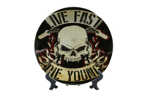 Teller Nostalgie Motorrad Live Fast Die Young Keramik bedruckt