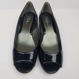 47ada2af645 Cole Haan NikeAir Womens Wedge Black Patent Leather Peep Toe Shoe ...