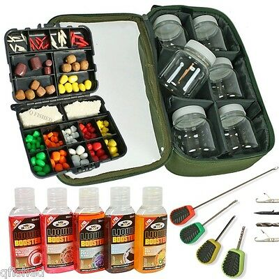 5 Additive 4PC Baiting Needle Set Carp Fishing 6 Boilie Bait Glug Pots Bag