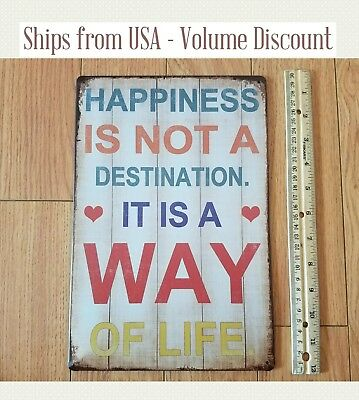 """METAL SIGN WALL PLAQUE /""""A CALM AND MODEST LIFE HAPPINESS/"""" Albert Einstein Quote"""