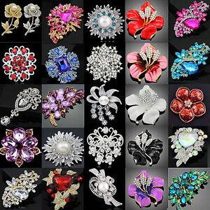 Vintage-Gold-Silver-Rhinestone-Crystal-Flower-Wedding-Bridal-Bouquet-Brooch-Pin