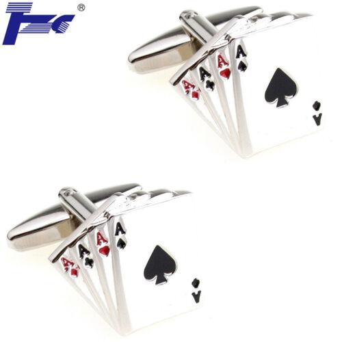 Hombres Cuatro Ases Poker Tarjetas Cufflinks Con Bolsa De Terciopelo TZG marca Gemelos