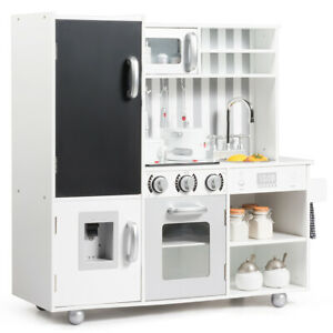Kids Kitchen Playset Wooden Cookware Pretend Cooking Food Set Toddler Gift White Ebay