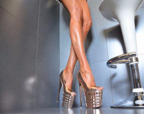 METALLIC Damenschuhe Club-Party Pumps Plateau XXXL GOGO High Heels 36//41