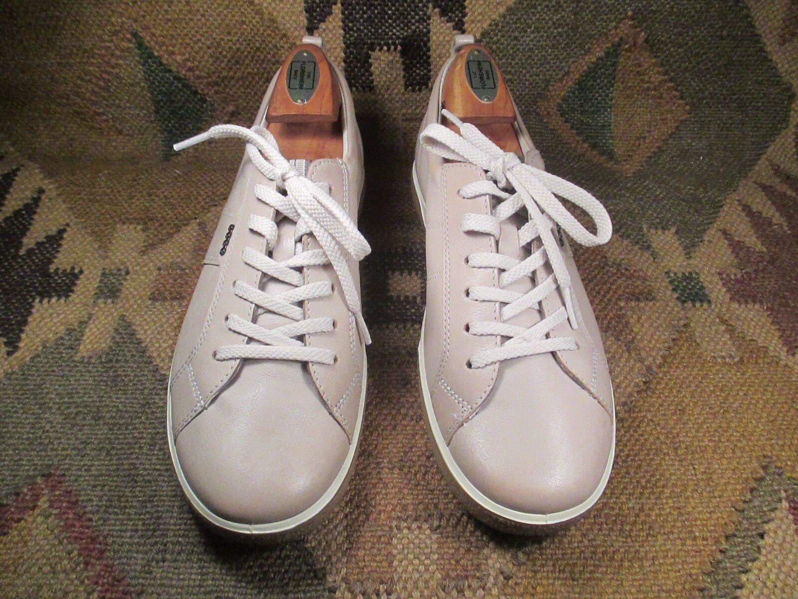 Beige ECCO Lace Up Soft Fashion Light Beige  Leather Sneakers, 200e4e