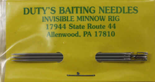 "DUTY/'S INVISIBLE MINNOW RIG BAITING NEEDLES 2-1//2/"" 3 PACK 4A MADE IN USA"