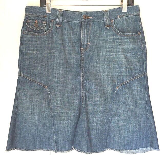 7f8756eda1 Riders Copper Denim Skirt Size M 9/10 Blue Jean Fit & Flare Knee Length