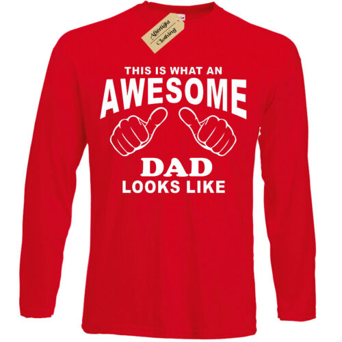 Awesome DAD T Shirt mens fathers day gift long sleeve top birthday present