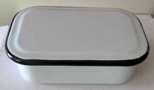 Vintage EnamelWare White with black Trim Covered Rectangle Refrigerator Pan Dish