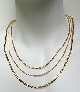 double light necklace accent chain yelllow curb inches gold
