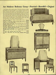1937 PAPER AD Queen Anne Bedroom Furniture Suite Art Moderne The ...