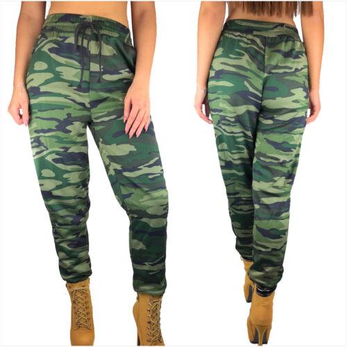 Donna Pantalone Mimetico vita alta Camo Militare jogging lunga calzoni sportivi S-XXL