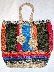 d7b0d7a7adfe Ручная работа вязаная крючком женский дамская сумочка пляж большая сумка с короткими  ручками, книга для путешествий ноутбук! | eBay