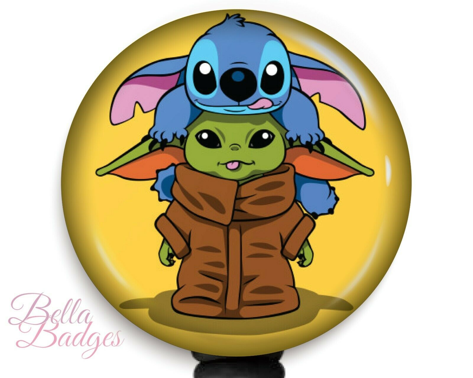 Baby Yoda and Stitch Star Wars Badge Reel Name Tag ID Pull Clip Holder FREE DEL.