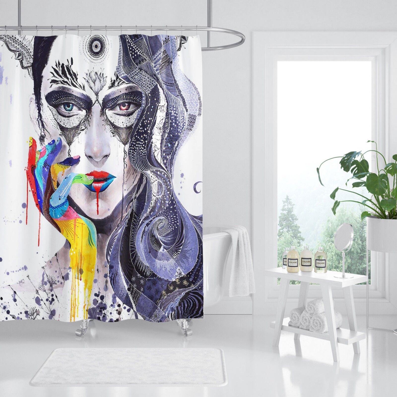 3D Girl Graffiti 78 Shower Curtain Wearproof Wearproof Wearproof Fiber Bathroom Home Windows Toilet 0ad355