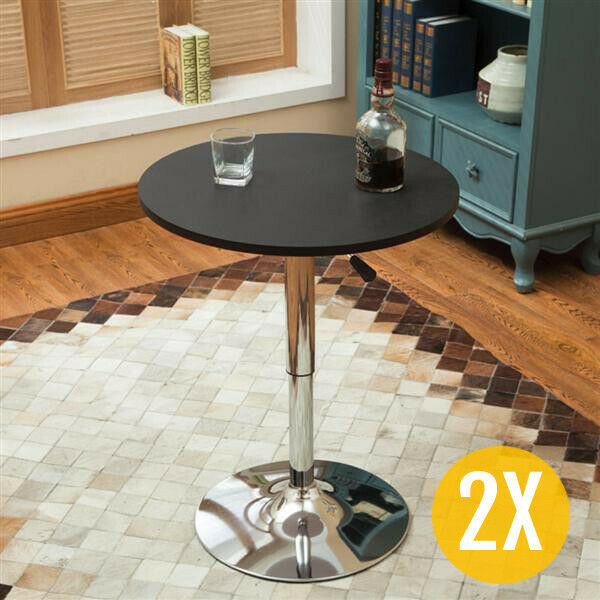 Swivel Round Pub Table Adjustable Bar Tables Counter Height Bistro Cafe Set  Of 2