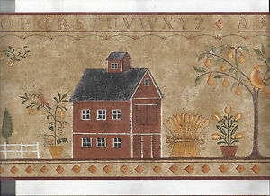 Details About Wallpaper Border Folk Art Barn House Trees Birds New Arrival Primitive Country