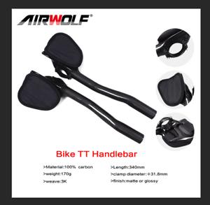 31,8mm 3K Vollcarbon Aero Bar Rest Lenker Für Racing Rennräder TT Aerobars Matte