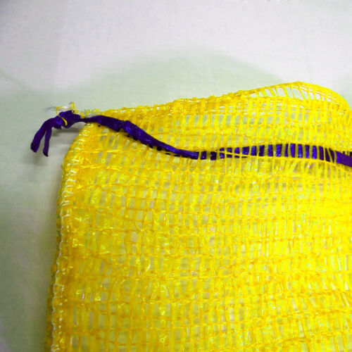 200 Yellow Net Sacks Mesh Bags Kindling Logs Potatoes Onions 50cm x 80cm 30Kg
