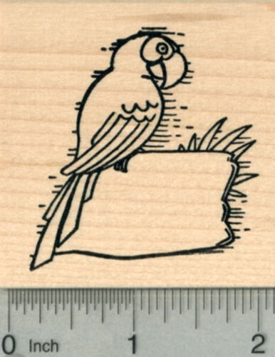Macaw with Blank Sign for Luau Party Series J30203 WM Parrot Rubber Stamp
