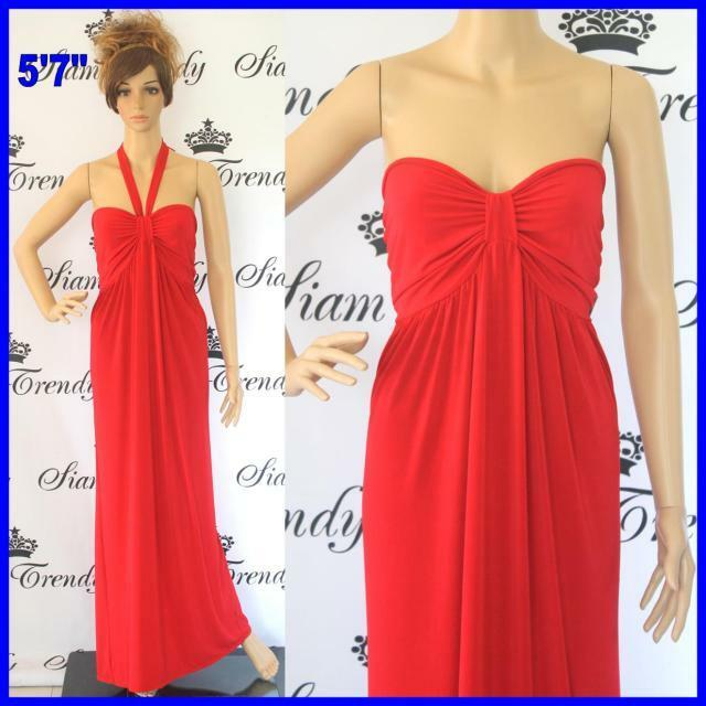 NWT XL 2XL 3X New Red Full-Length Polyester Halter Strapless Summer Maxi Dress