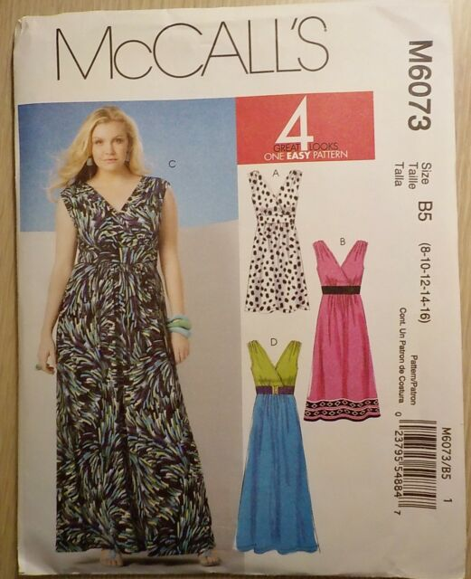 McCall's Dress Pattern #M6073, Misses'  Dresses  ~ Sizes 8-16