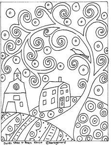RUG-HOOK-PAPER-PATTERN-Swirl-Tree-House-amp-Barn-FOLK-ART-ABSTRACT-by-Karla-Gerard