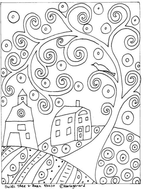 RUG HOOK PAPER PATTERN Swirl Tree House & Barn FOLK ART ABSTRACT by Karla Gerard