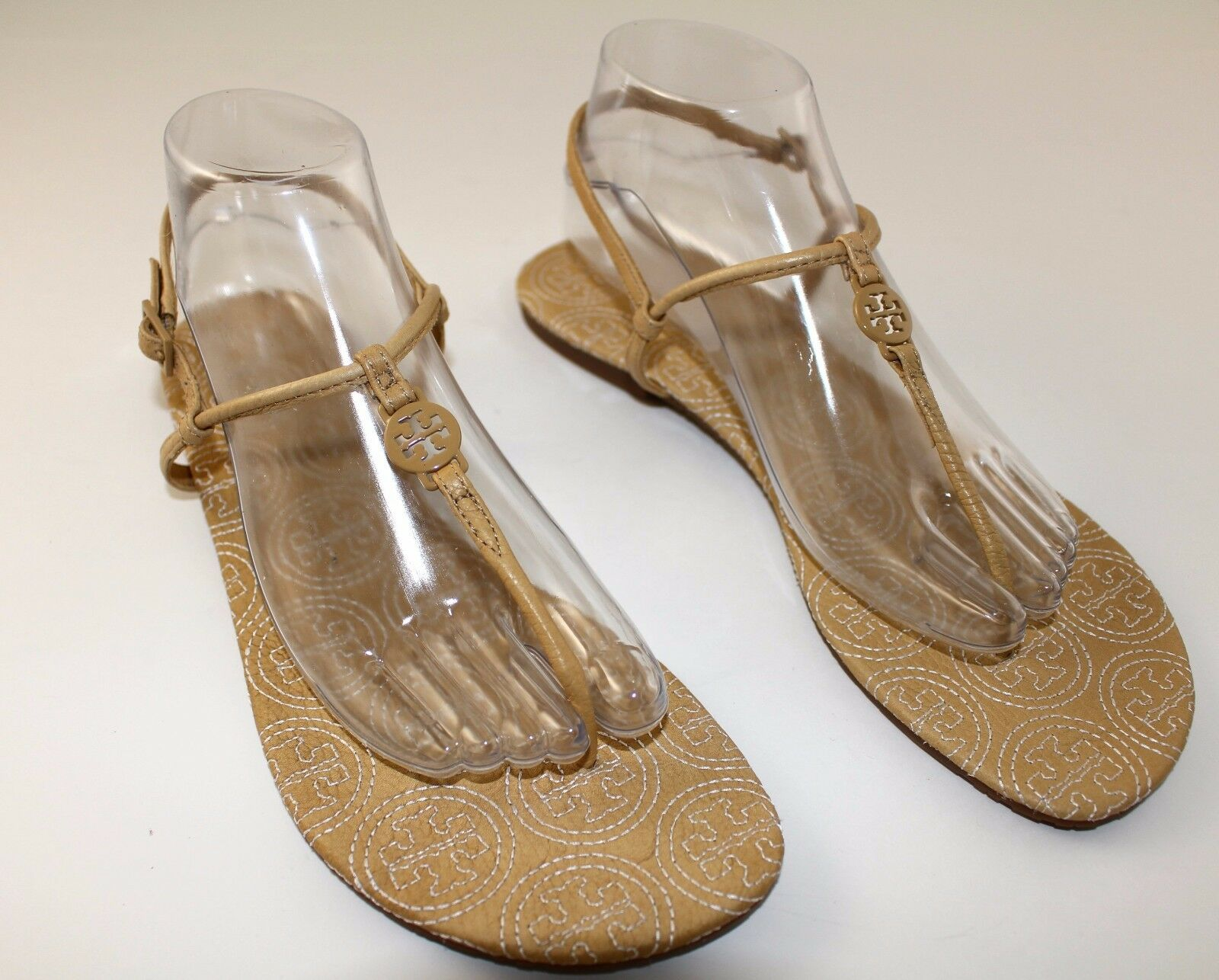 Tory Burch Beige Emmy Stitch Thong Sandals sz 10.5